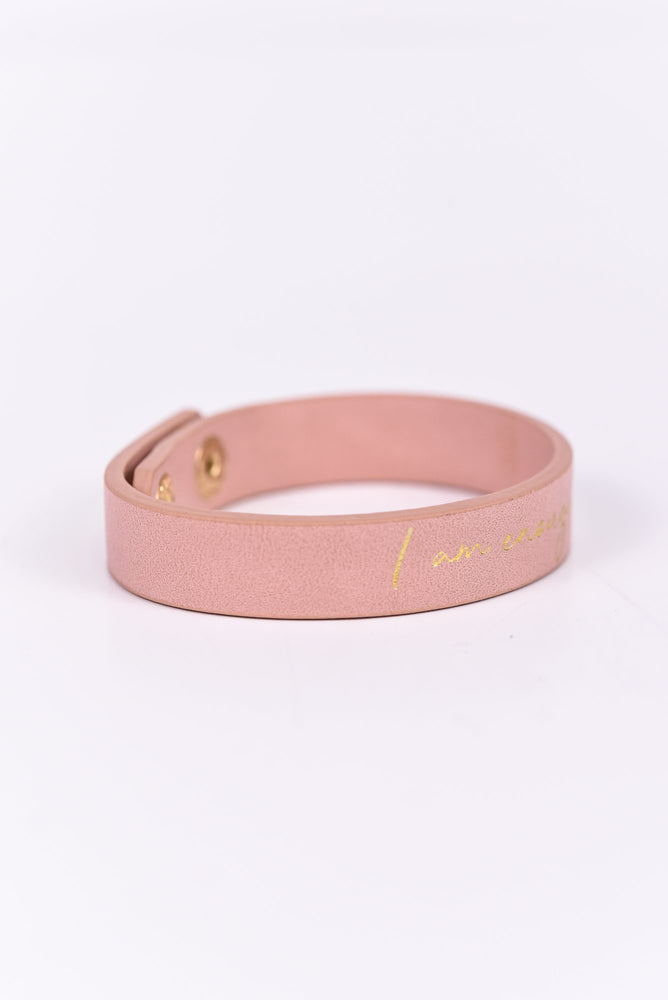'I Am Enough' Pink/Gold Snap Closure Bracelet - BRC2468PK