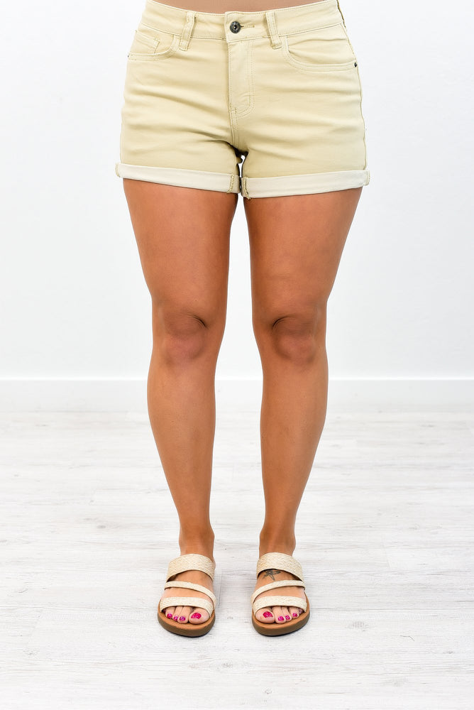 Forever On Vacation Khaki Denim Shorts - I1108KH