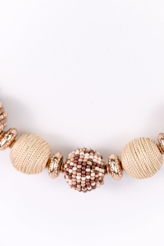 Natural/Gold/Brown Seed Bead/Beaded Necklace - NEK3232NA