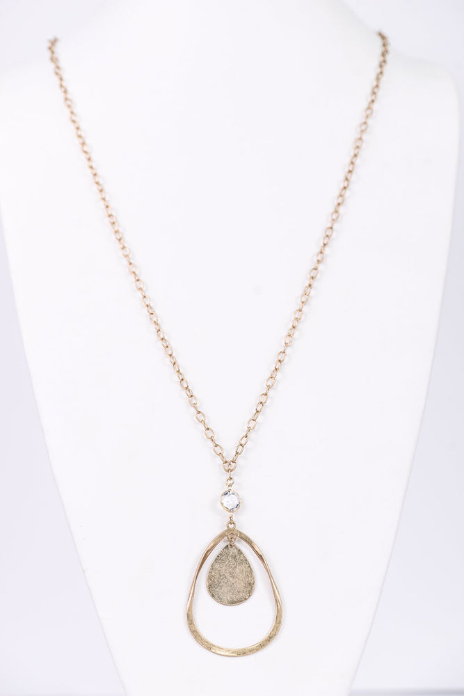 Gold Teardrop/Round Crystal Pendant Necklace - NEK3240GO