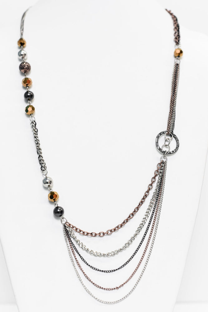 Silver/Black/Copper Beaded Chain Necklace - NEK3255SI