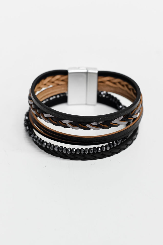Black/Silver Braided/Beaded Multi Strand Magnetic Closure Bracelet - BRC2565BK