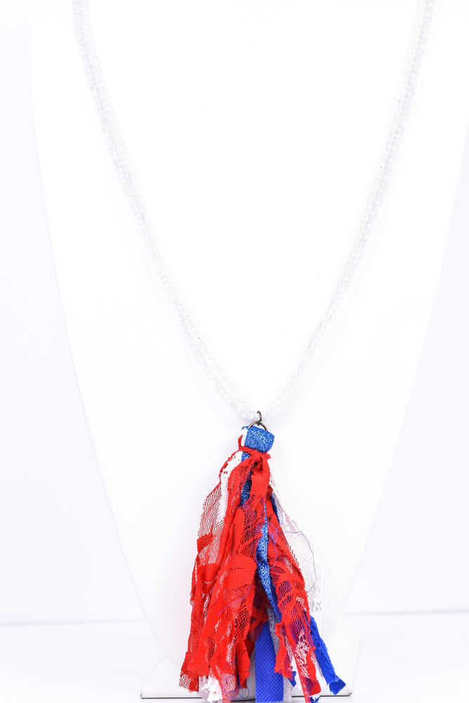 Red/White/Blue Fabric Tassel Double Strand Beaded Necklace - NEK3291RD