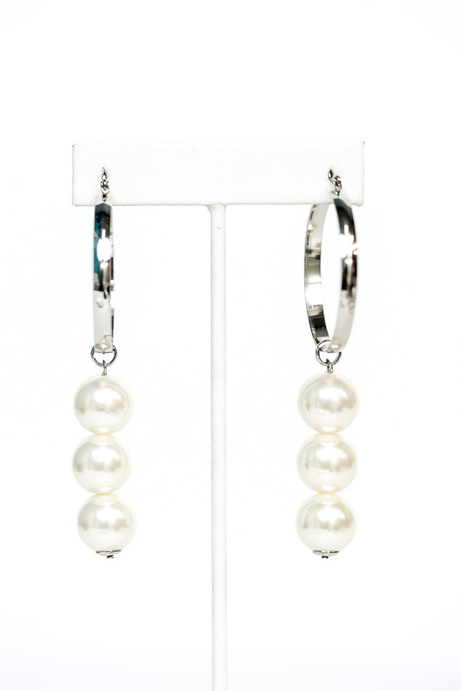 Triple Pearl Ball Silver Hoop Earrings - EAR2873PR