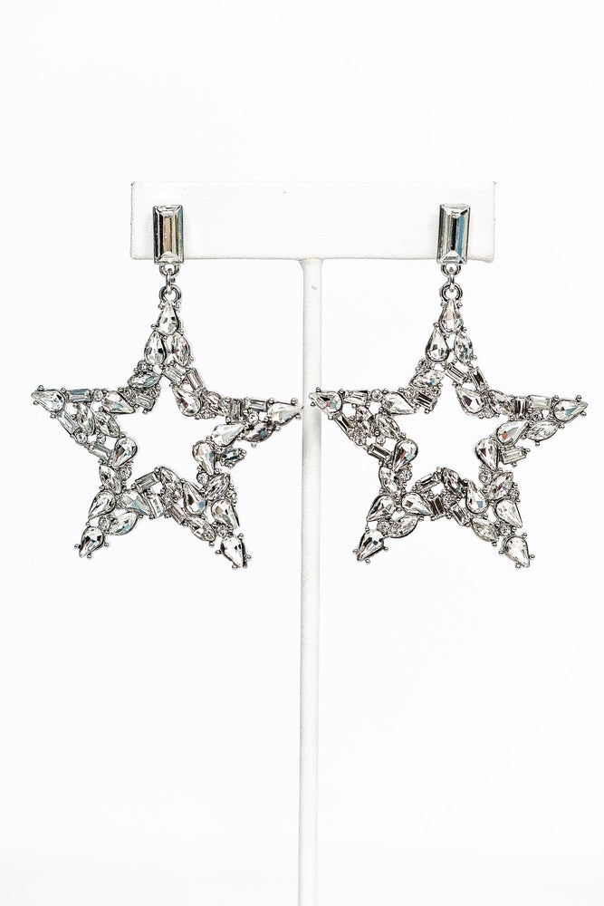 Silver/Rhinestone Bling Star Earrings - EAR2874SI