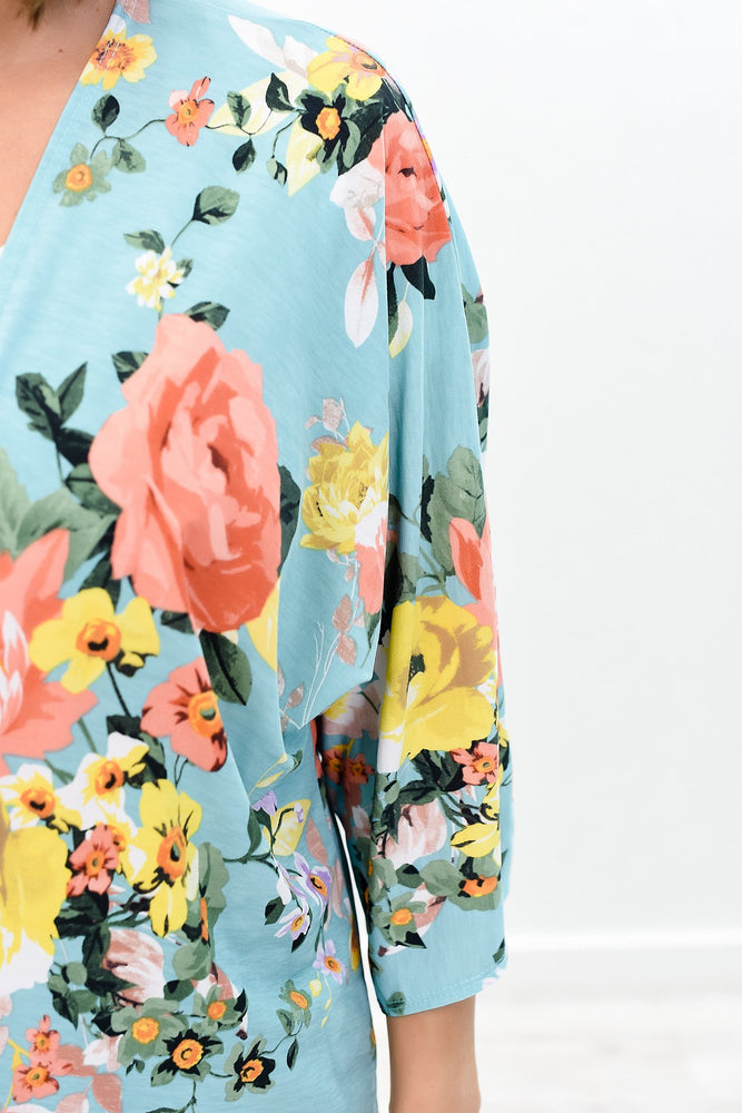 Blossom Into Beauty Mint/Multi Color Floral High-Low Kimono - O2478MT
