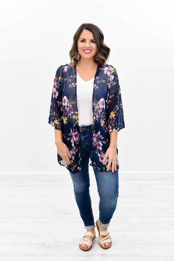 The Garden Of Paradise Navy/Multi Color Floral Sheer Kimono - O2480NV