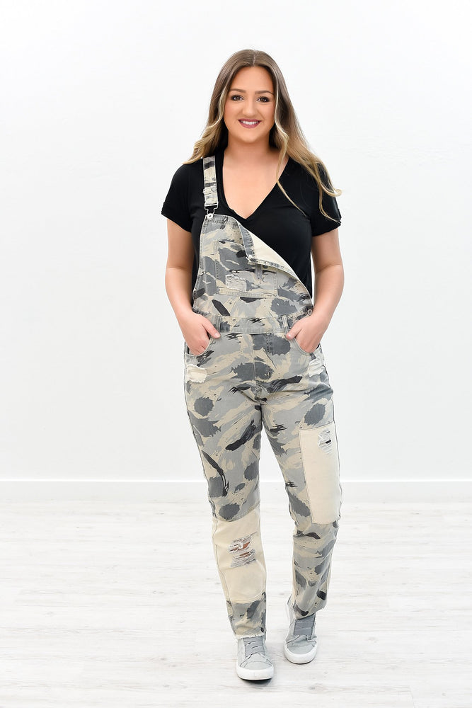 Go Hunt Your Dream Gray Camouflage Distressed Overalls - K427GR
