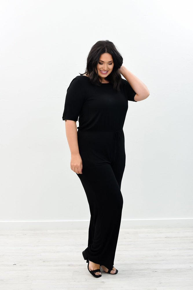 Play The Part Black Solid Romper - RMP390BK