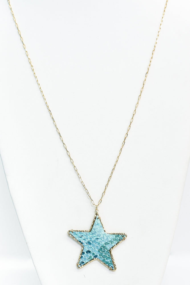 Blue/Gold Hammered Snakeskin Star Pendant Necklace - NEK3287GO