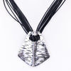 Silver Pendant On Multi-Strand Black Cord Necklace - NEK3295SI
