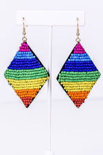 Rainbow Seed Bead Diamond-Shaped Earrings - EAR2875MU