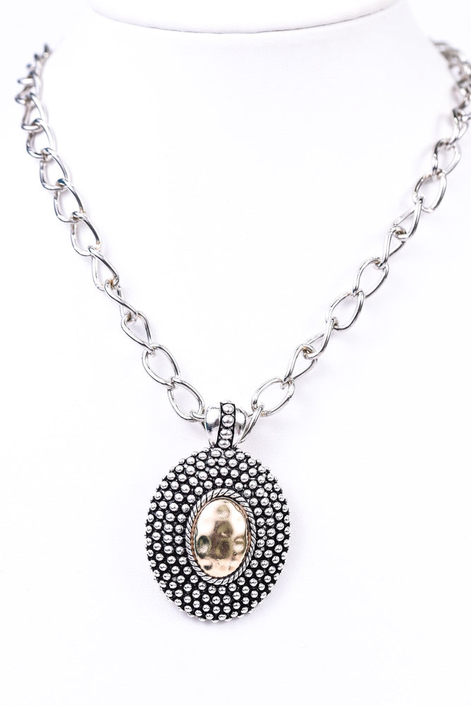 Silver/Black/Gold Oval Detachable Magnetic Pendant Necklace - NEK3302SI