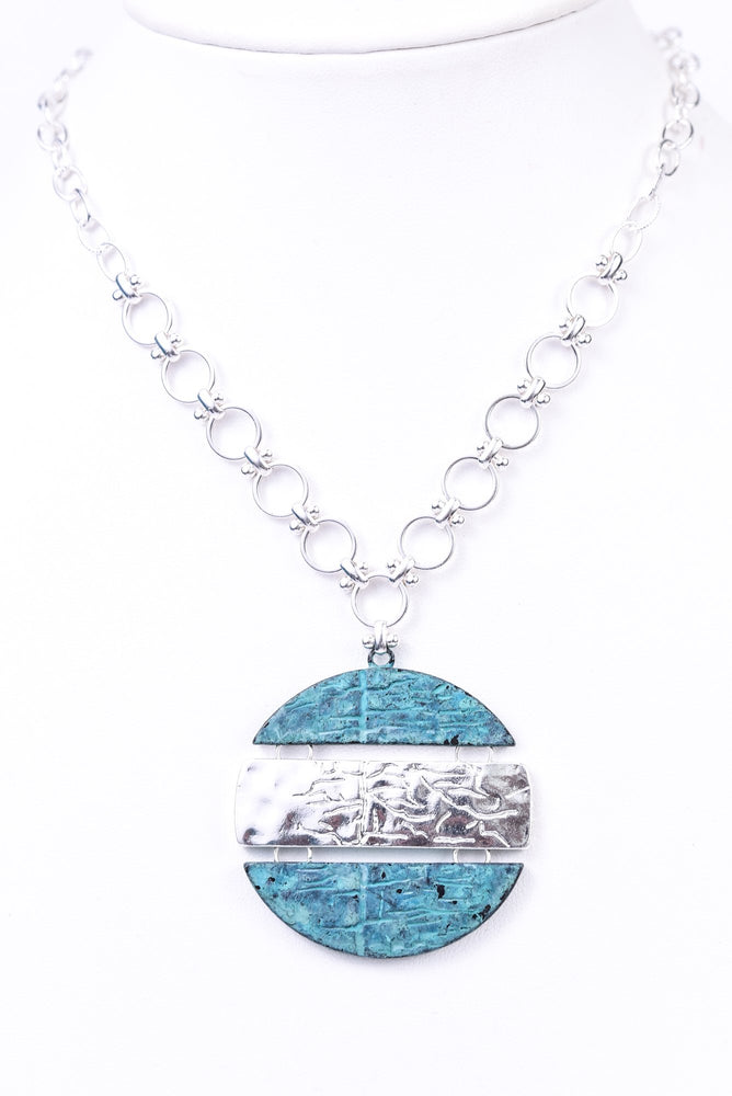 Silver/Patina Round Pendant Necklace - NEK3299SI