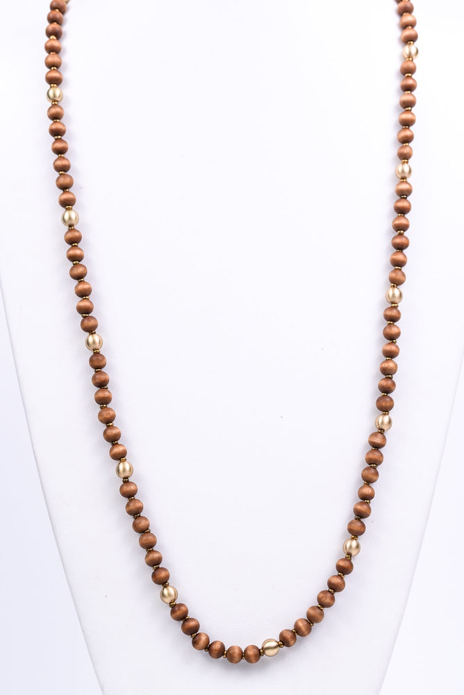 Dark Brown/Gold Beaded Long Strand Necklace - NEK3312DBR