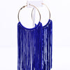 Long Dark Blue/Gold Tassel Hoop Earrings - EAR2877DBL