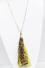 Yellow Leopard/Gold Tassel Necklace - NEK3313YE