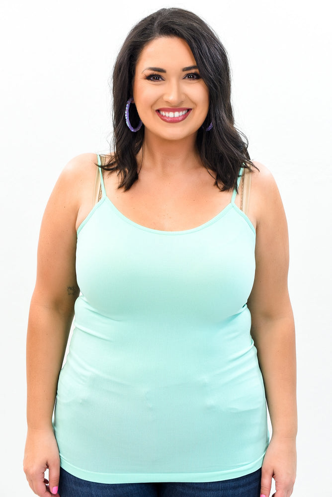 Mint Crystal Blue Basic Seamless Cami (Sizes 12-18) - CAM909CBL