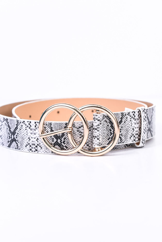 White/Gold Snakeskin Belt - BLT1070WH