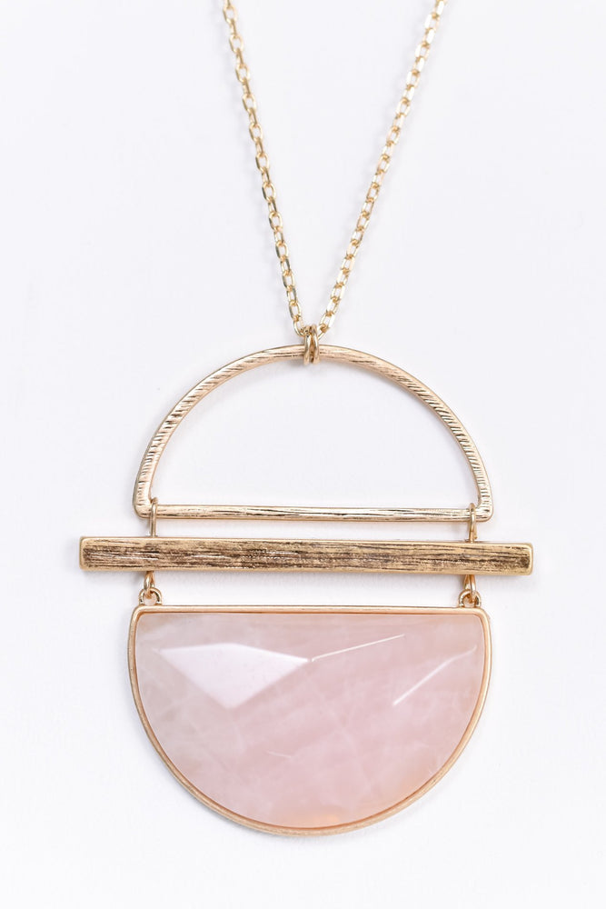 Pink Marble Stone/Gold Pendant Necklace - NEK3341PK