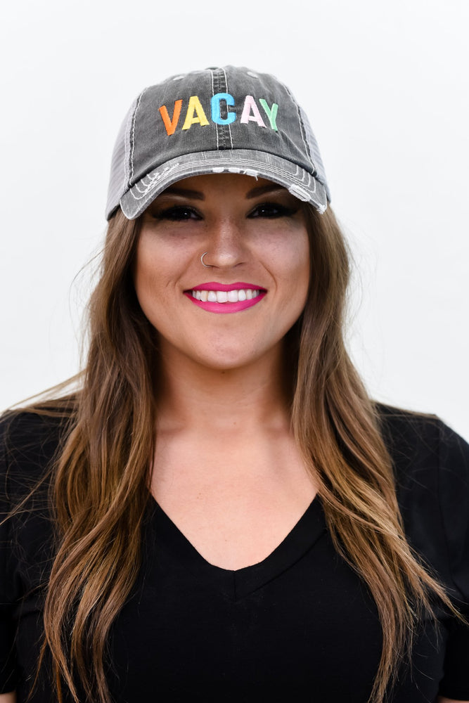 'Vacay' Gray/Multi Color Distressed Trucker Hat - HAT1162GR