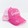 'Homebody' Pink/Ivory Distressed Trucker Hat - HAT1163PK