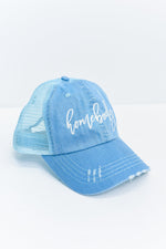 'Homebody' Blue/Ivory Distressed Trucker Hat - HAT1164BL