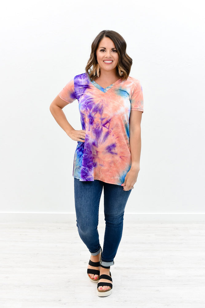 Shining So Bright Purple/Multi Color Tie Dye V Neck Top - B8419PU