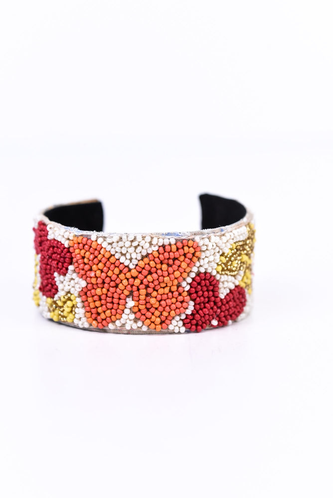 White/Multi Color Butterfly Seed Bead Cuff Bracelet - BRC2633WH