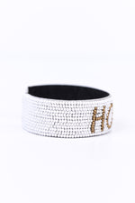 'Hope' White/Gold Seed Bead Cuff Bracelet - BRC2612WH
