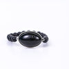 Black Marble Oval Pendant/Beaded Stretch Bracelet - BRC2625BK
