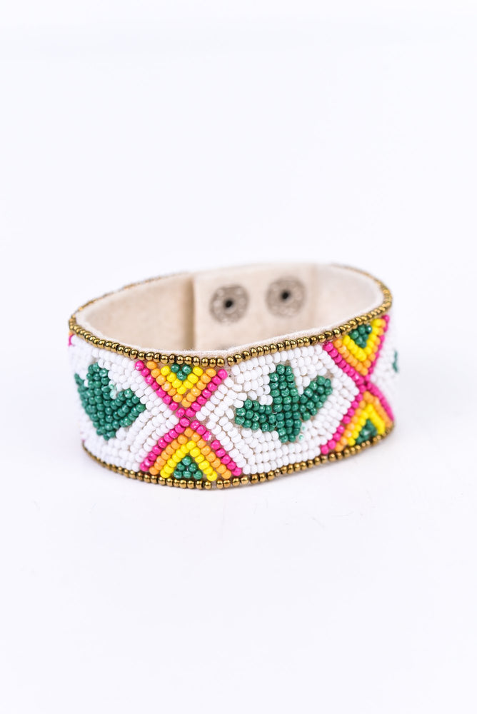 White/Multi Color Seed Bead Cactus Snap Closure Bracelet - BRC2611WH