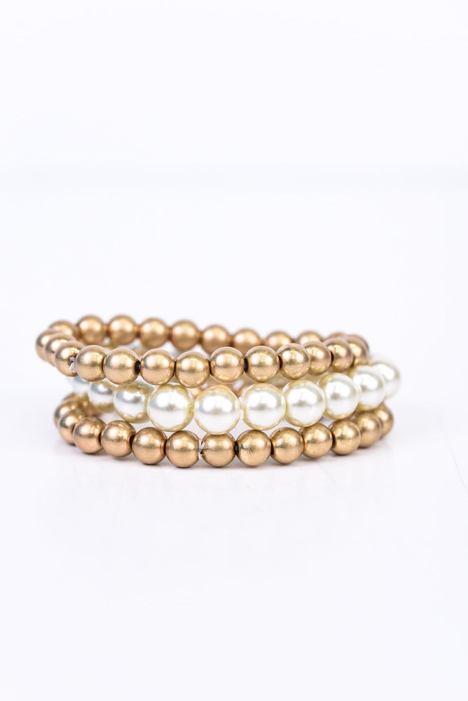 Gold/Pearl Beaded Stretch Stackable Bracelet - BRC2626GO