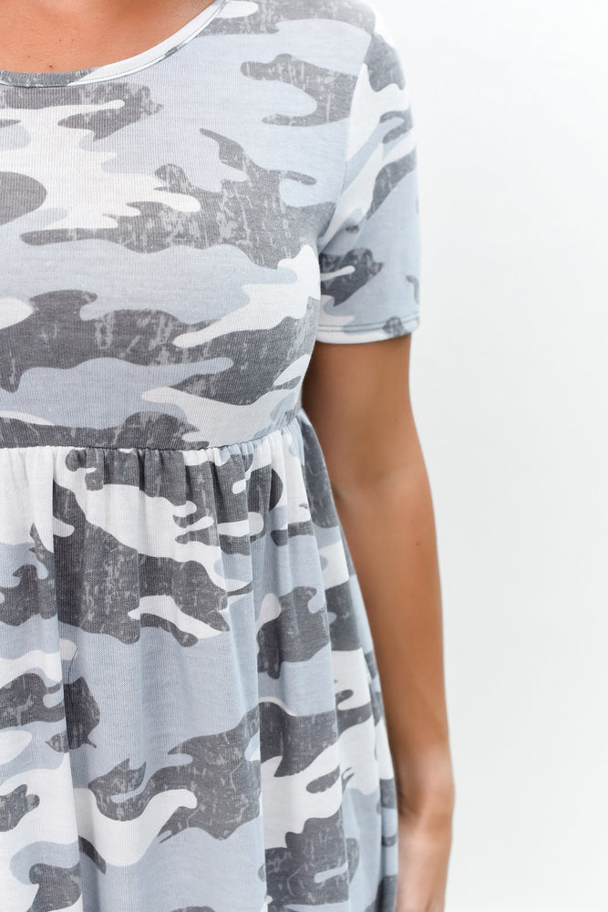 Make Your Life Easy Gray/Ivory Camouflage Dress - D3467GR