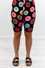 Black/Multi Color Donuts Biker Shorts - I1169BK