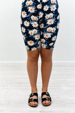 Navy Floral Biker Shorts - I1173NV