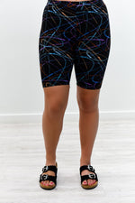 Black/Multi Color Printed Biker Shorts - I1164BK