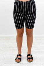 Black/White Striped Biker Shorts - I1172BK