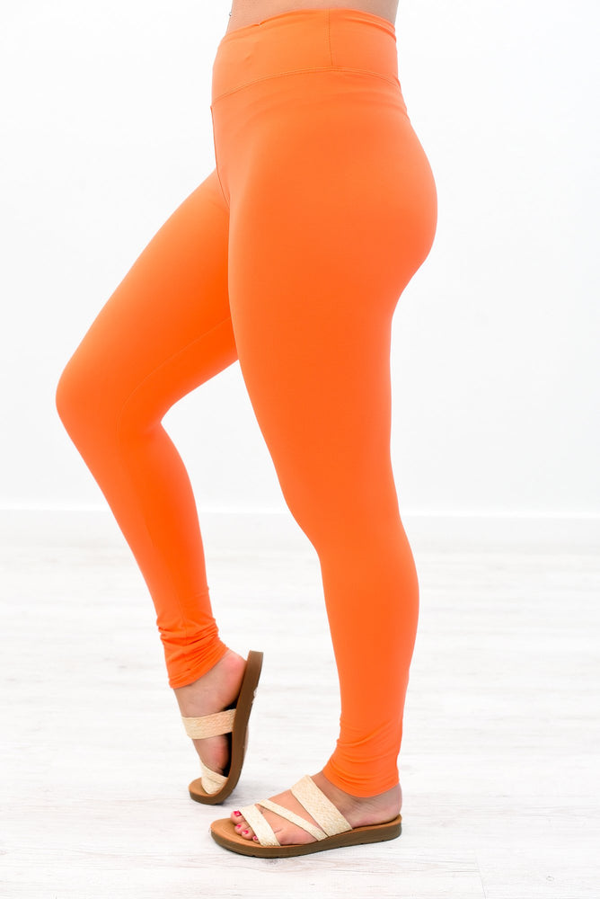 Neon Orange Wide Band Solid Leggings (Sizes 4-12) - LEG2648NOR