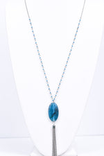 Turquoise Oval Stone/Silver Tassel/Beaded Chain Necklace - NEK3364TU