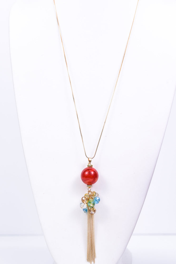 Gold/Red Marble/Multi Color Beaded/Chain Necklace - NEK3365GO