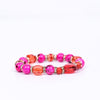 Pink/Gold/Red/Bling Beaded Stretch Bracelet - BRC2643PK