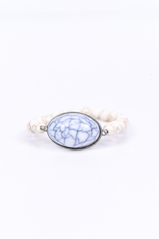 Ivory Marble Oval Pendant/Beaded Stretch Bracelet - BRC2642IV