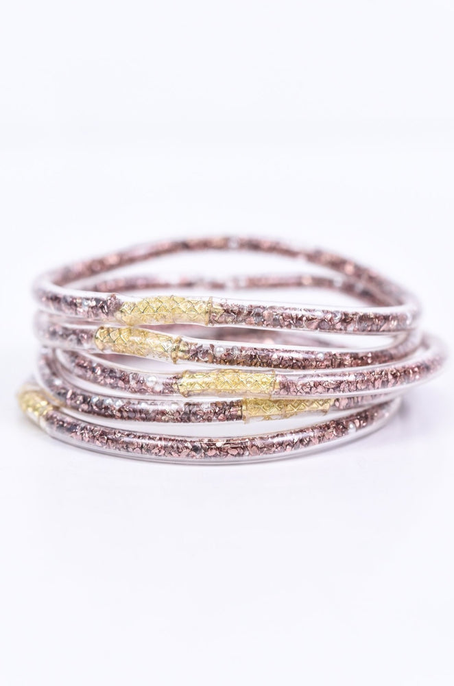 Rose Gold/Pearl/Bling Tube Bangle Bracelet - BRC2651RG