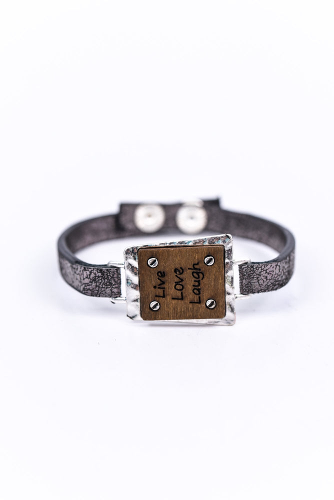 'Live Love Laugh' Silver Hammered/Wood Snap Closure Bracelet - BRC2661SI