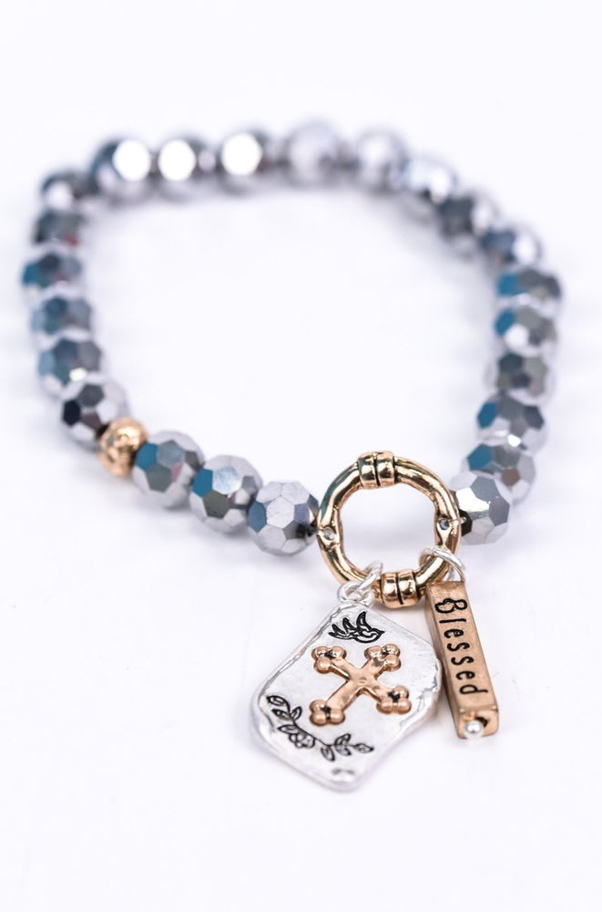 'Blessed' Gray/Gold Beaded Stretch Charm Bracelet - BRC2652GR