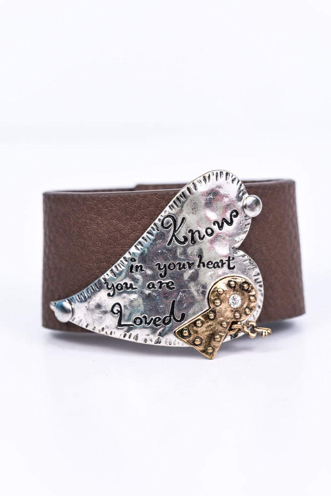 Silver Hammered 'Know In Your Heart You Are Loved' On Brown Bracelet - BRC2670SI
