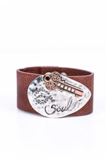 Silver Hammered 'The Journey Awakens The Soul' Cooper/Bling Key/Dark Tan Leather Bracelet - BRC2663SI