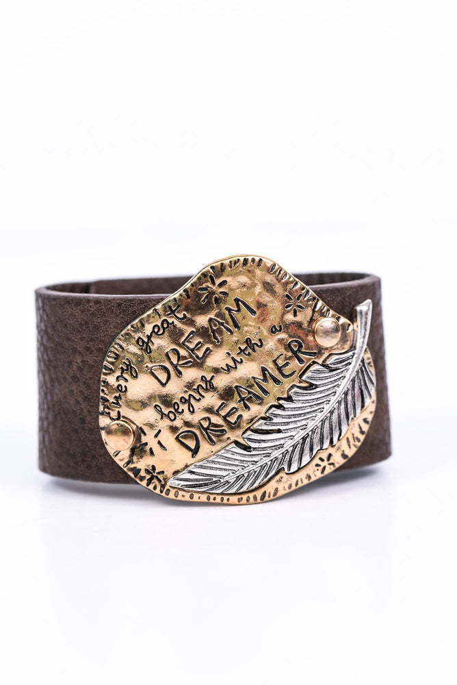 Gold Hammered 'Every Great Dream Begins With A Dreamer' Silver Feather On Brown Bracelet - BRC2668GO