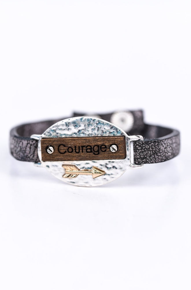 'Courage' Silver Hammered/Wood Leather Snap Closure Bracelet - BRC2657SI